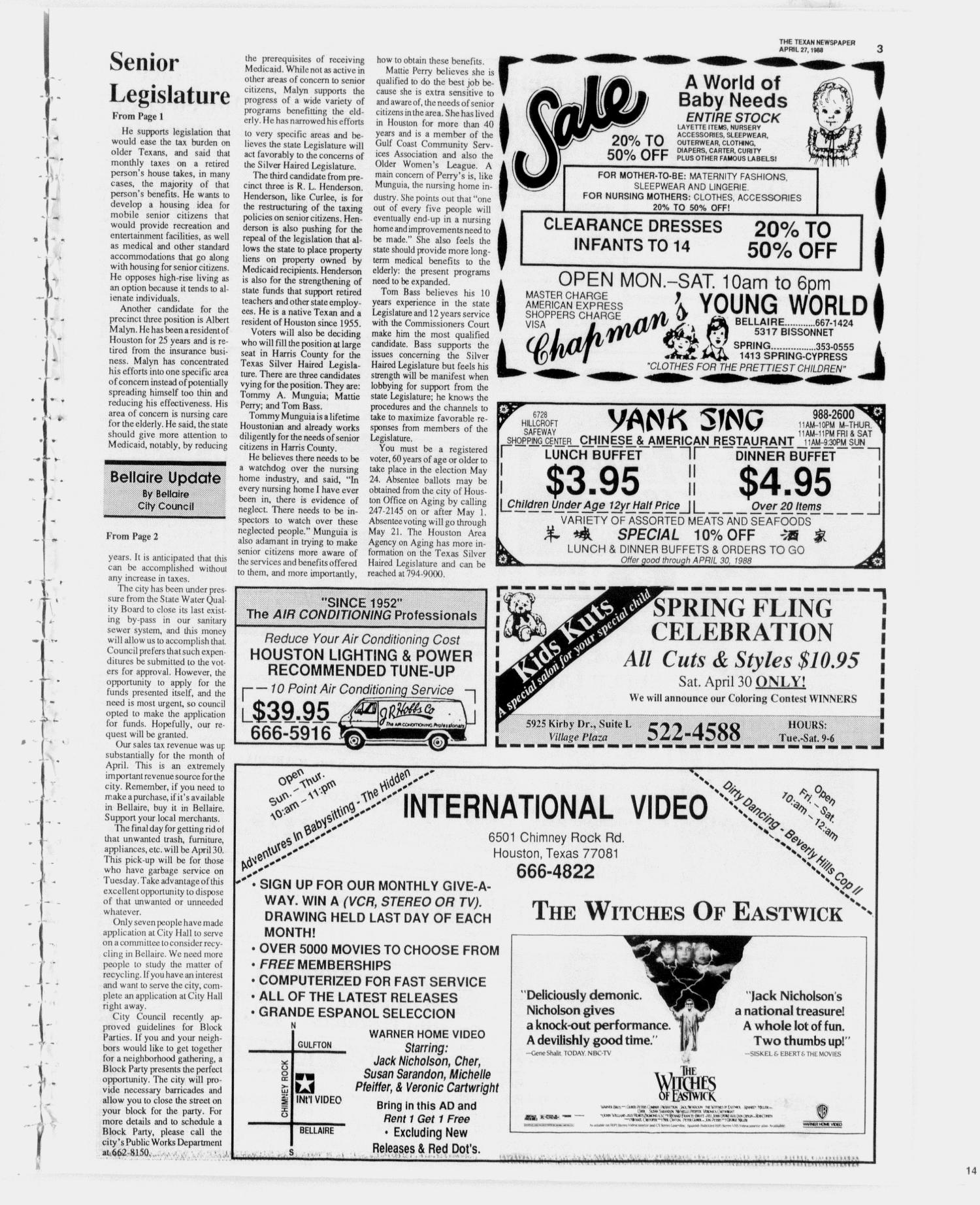 The Texan Newspaper (Houston, Tex.), Vol. 36, No. 17, Ed. 1 Wednesday, April 27, 1988                                                                                                      [Sequence #]: 3 of 12