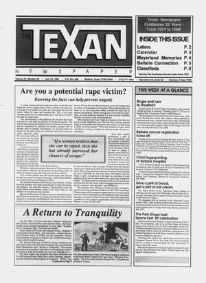 Primary view of object titled 'The Texan Newspaper (Bellaire and Houston, Tex.), Vol. 37, No. 29, Ed. 1 Wednesday, July 19, 1989'.