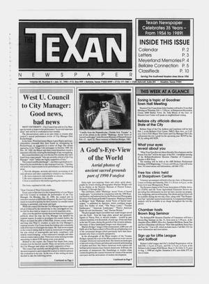 Primary view of object titled 'The Texan Newspaper (Bellaire and Houston, Tex.), Vol. 38, No. 5, Ed. 1 Wednesday, January 31, 1990'.
