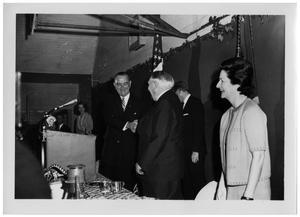 Primary view of object titled '[Lyndon Johnson and Ludwig Erhard Shaking Hands at a Podium]'.