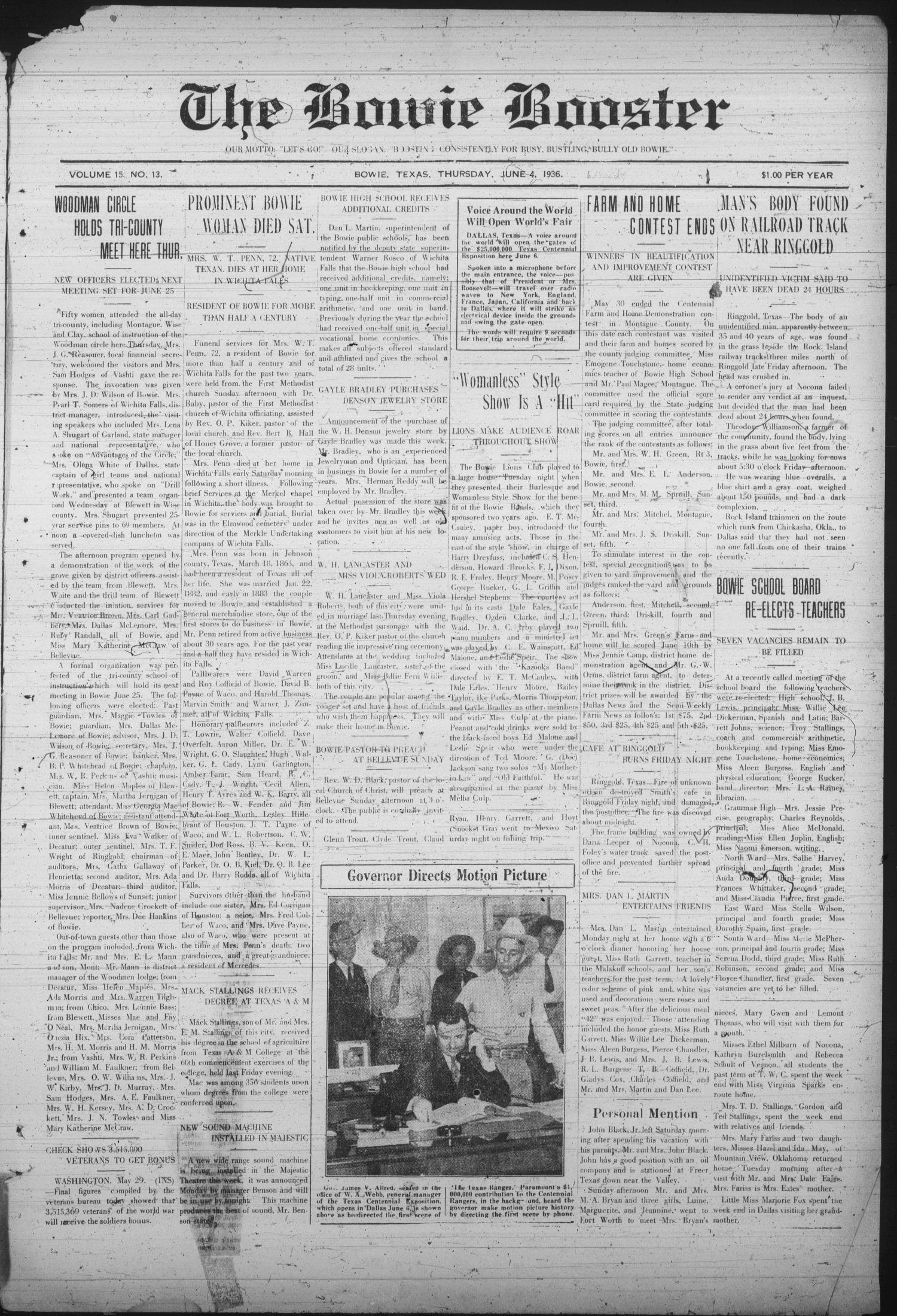 The Bowie Booster (Bowie, Tex.), Vol. 15, No. 13, Ed. 1 Thursday, June 4, 1936                                                                                                      [Sequence #]: 1 of 8