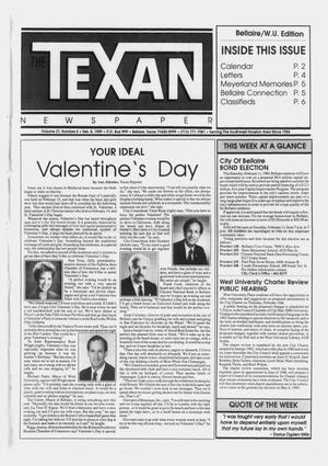 Primary view of object titled 'The Texan Newspaper (Bellaire, Tex.), Vol. 37, No. 6, Ed. 1 Wednesday, February 8, 1989'.