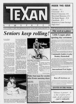 Primary view of object titled 'The Texan Newspaper (Houston, Tex.), Vol. 36, No. 14, Ed. 1 Wednesday, April 6, 1988'.