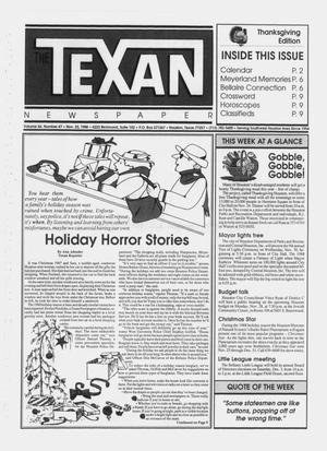 Primary view of object titled 'The Texan Newspaper (Houston, Tex.), Vol. 36, No. 47, Ed. 1 Wednesday, November 23, 1988'.