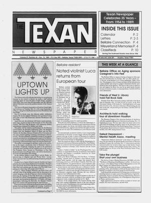 Primary view of object titled 'The Texan Newspaper (Bellaire and Houston, Tex.), Vol. 37, No. 46, Ed. 1 Wednesday, November 15, 1989'.