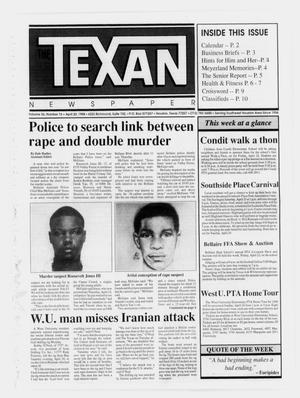 Primary view of object titled 'The Texan Newspaper (Houston, Tex.), Vol. 36, No. 16, Ed. 1 Wednesday, April 20, 1988'.