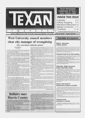 Primary view of object titled 'The Texan Newspaper (Bellaire and Houston, Tex.), Vol. 37, No. 49, Ed. 1 Wednesday, December 6, 1989'.