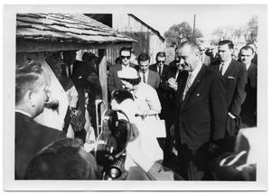 Primary view of object titled '[Lady Bird and Lyndon Johnson in Front of Saint Barnabas Episcopal Church]'.