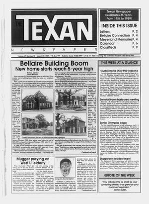 Primary view of object titled 'The Texan Newspaper (Bellaire, Tex.), Vol. 37, No. 13, Ed. 1 Wednesday, March 29, 1989'.