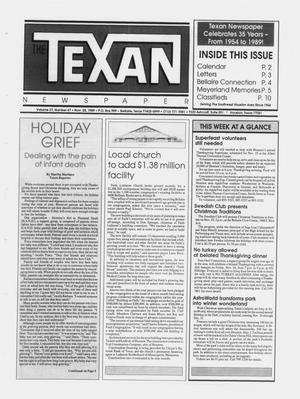 Primary view of object titled 'The Texan Newspaper (Bellaire and Houston, Tex.), Vol. 37, No. 47, Ed. 1 Wednesday, November 22, 1989'.