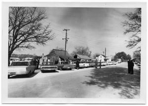 Primary view of object titled '[Cars Parked Outside of Saint Barnabas Episcopal Church]'.