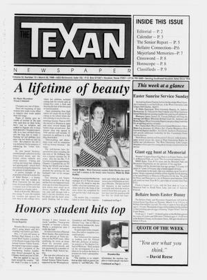 Primary view of object titled 'The Texan Newspaper (Houston, Tex.), Vol. 36, No. 13, Ed. 1 Wednesday, March 30, 1988'.