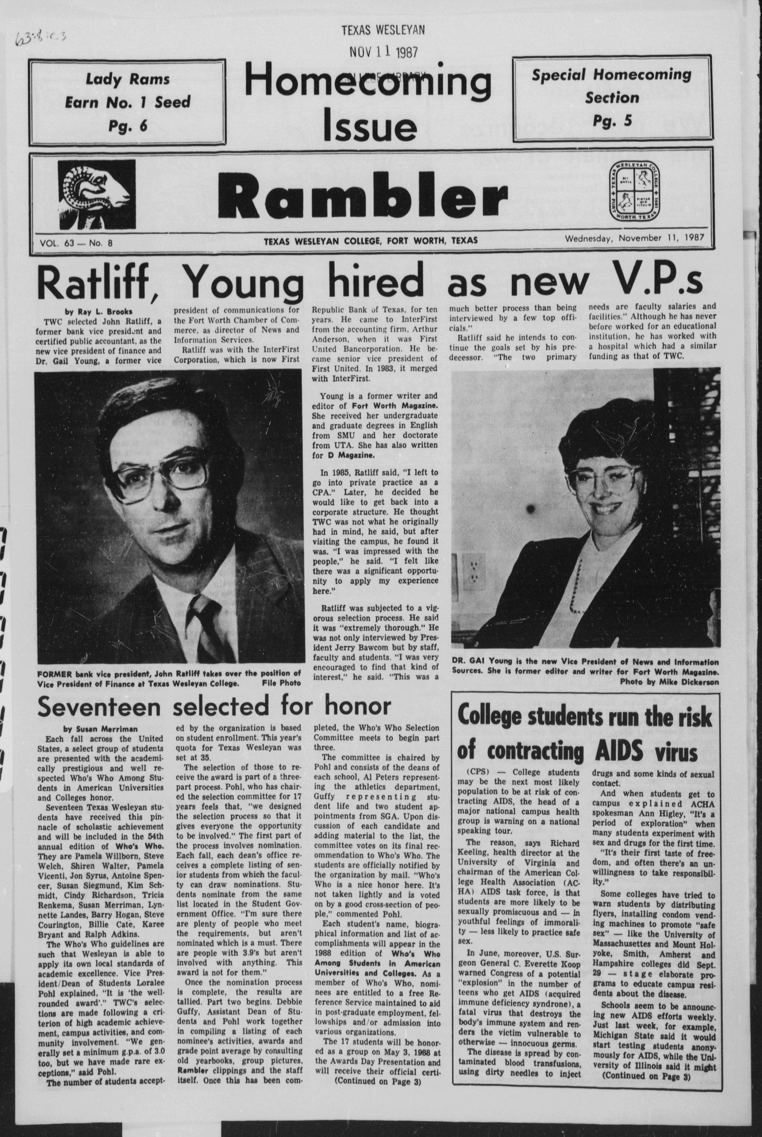 Rambler (Fort Worth, Tex.), Vol. 63, No. 8, Ed. 1 Wednesday, November 11, 1987                                                                                                      [Sequence #]: 1 of 6