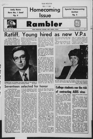 Primary view of object titled 'Rambler (Fort Worth, Tex.), Vol. 63, No. 8, Ed. 1 Wednesday, November 11, 1987'.