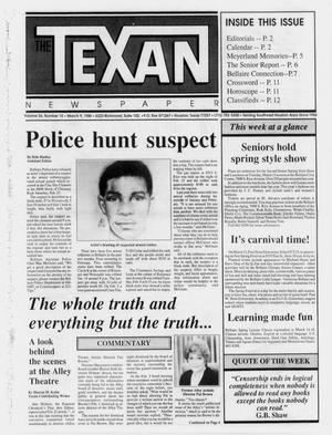 Primary view of object titled 'The Texan Newspaper (Houston, Tex.), Vol. 36, No. 10, Ed. 1 Wednesday, March 9, 1988'.