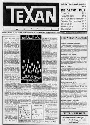 Primary view of object titled 'The Texan Newspaper (Houston, Tex.), Vol. 36, No. 38, Ed. 1 Wednesday, September 21, 1988'.