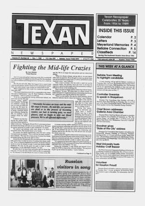 Primary view of object titled 'The Texan Newspaper (Bellaire and Houston, Tex.), Vol. 37, No. 44, Ed. 1 Wednesday, November 1, 1989'.