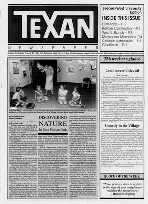 Primary view of object titled 'The Texan Newspaper (Houston, Tex.), Vol. 36, No. 29, Ed. 1 Wednesday, July 20, 1988'.