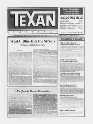 Primary view of object titled 'The Texan Newspaper (Bellaire and Houston, Tex.), Vol. 38, No. 14, Ed. 1 Wednesday, April 4, 1990'.