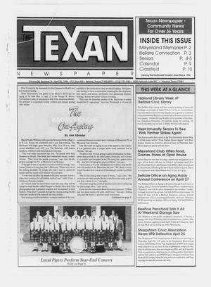Primary view of object titled 'The Texan Newspaper (Bellaire and Houston, Tex.), Vol. 38, No. 16, Ed. 1 Wednesday, April 25, 1990'.