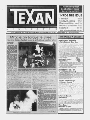 Primary view of object titled 'The Texan Newspaper (Bellaire and Houston, Tex.), Vol. 37, No. 50, Ed. 1 Wednesday, December 13, 1989'.