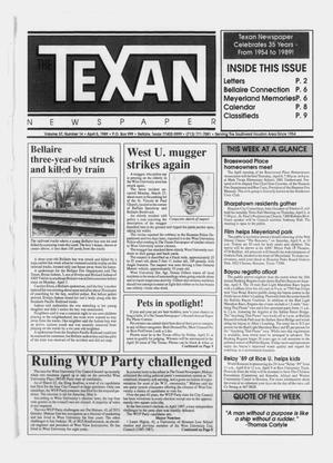 Primary view of object titled 'The Texan Newspaper (Bellaire, Tex.), Vol. 37, No. 14, Ed. 1 Wednesday, April 5, 1989'.