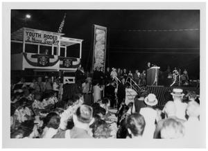 Primary view of object titled '[Crowd Gathered Outdoors as Lyndon Johnson Speaks]'.