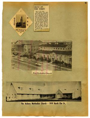 Primary view of object titled '[Scrapbook Page: Denton Churches]'.