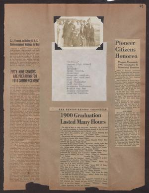 Primary view of object titled '[Scrapbook Page: Denton Graduates and Pioneer Citizens Clippings]'.