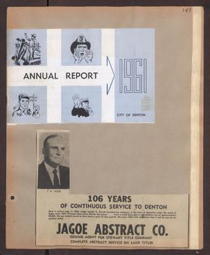 Primary view of object titled '[Scrapbook Page: City of Denton 1961]'.