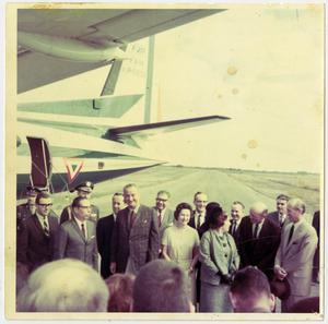 Primary view of object titled '[Lyndon Johnson and Lady Bird Johnson with Gustavo Ordaz]'.