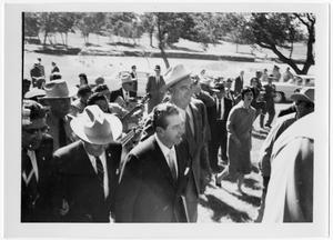 Primary view of object titled '[Lyndon Johnson and Adolfo Mateos Walking with Others]'.