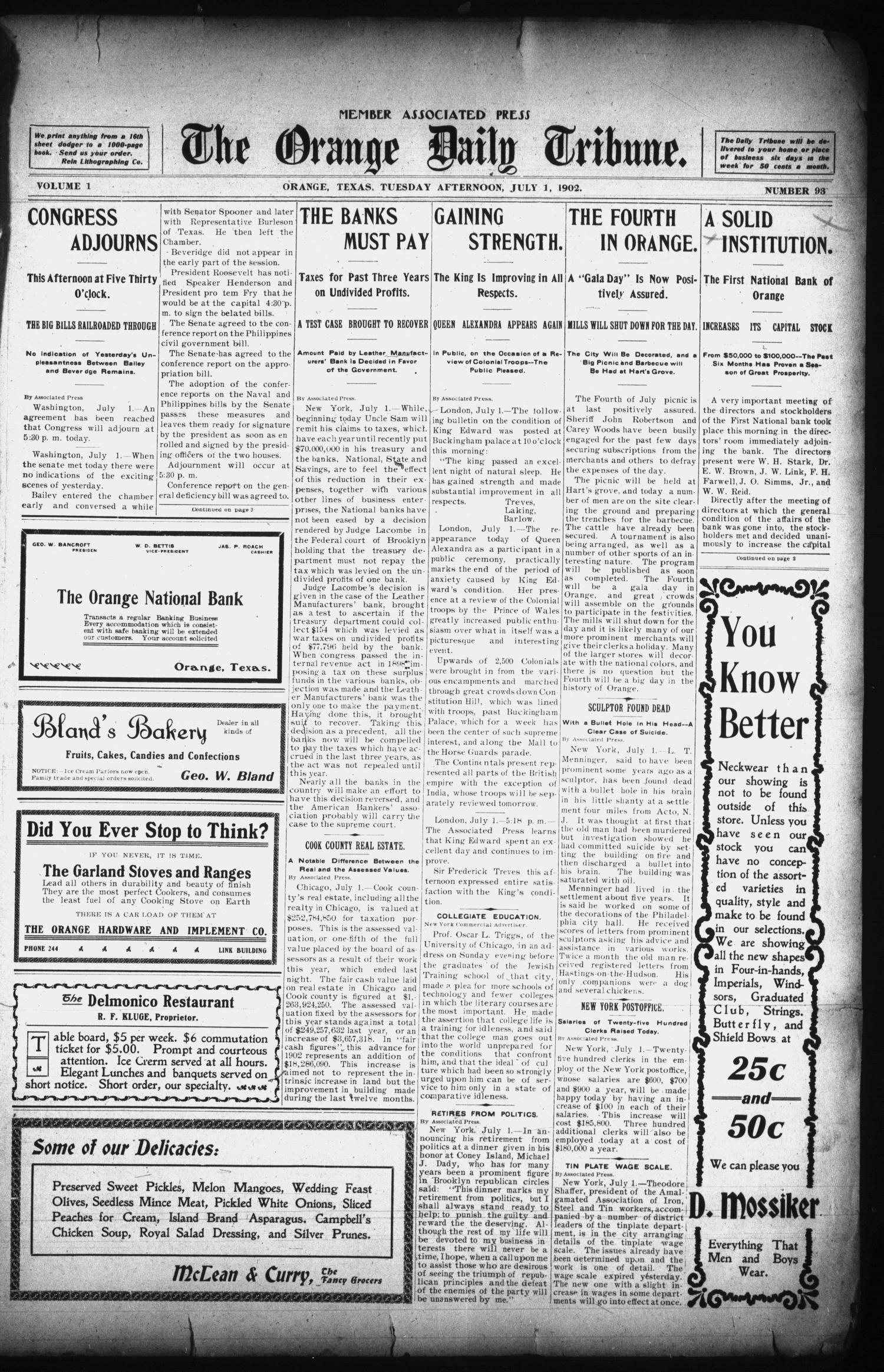 The Orange Daily Tribune. (Orange, Tex.), Vol. 1, No. 93, Ed. 1 Tuesday, July 1, 1902                                                                                                      [Sequence #]: 1 of 4