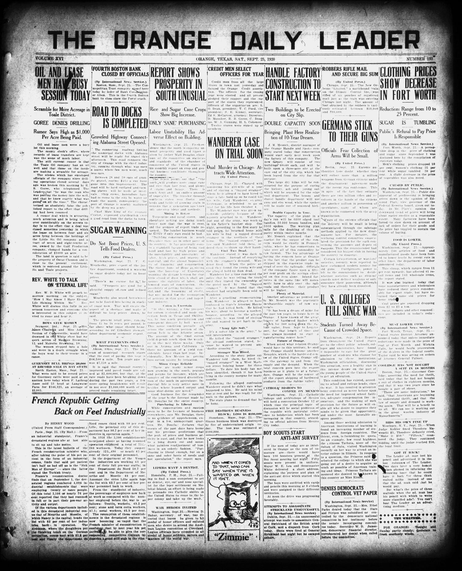 The Orange Daily Leader (Orange, Tex.), Vol. 16, No. 193, Ed. 1 Saturday, September 25, 1920                                                                                                      [Sequence #]: 1 of 6