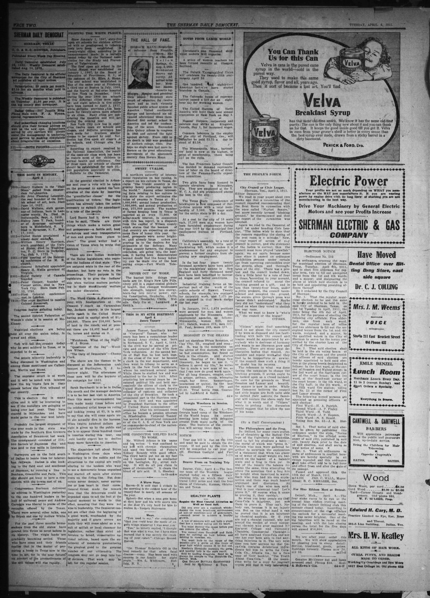 Sherman Daily Democrat. (Sherman, Tex.), Vol. THIRTIETH YEAR, Ed. 1 Tuesday, April 4, 1911                                                                                                      [Sequence #]: 2 of 8