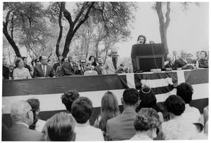 Primary view of object titled '[Lady Bird Johnson Speaking on an Outdoor Stage]'.