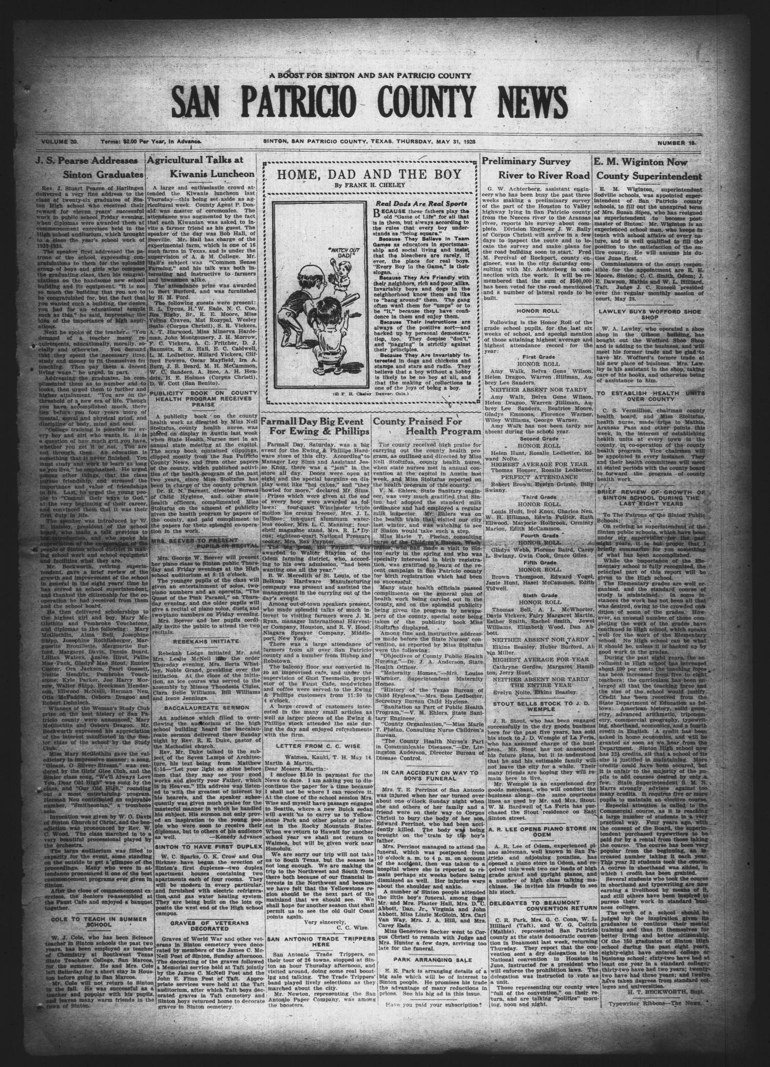 San Patricio County News (Sinton, Tex.), Vol. 20, No. 18, Ed. 1 Thursday, May 31, 1928                                                                                                      [Sequence #]: 1 of 10