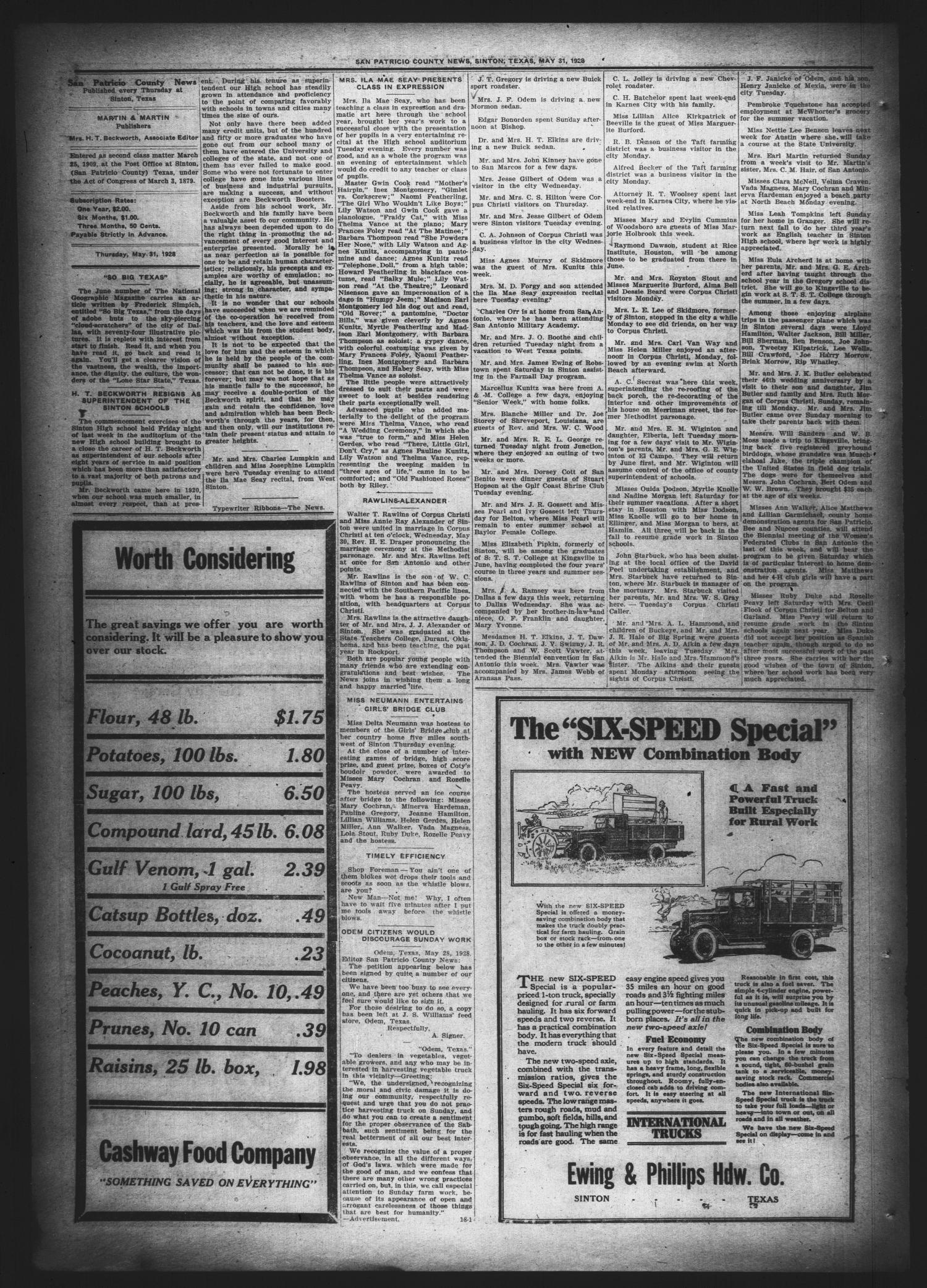 San Patricio County News (Sinton, Tex.), Vol. 20, No. 18, Ed. 1 Thursday, May 31, 1928                                                                                                      [Sequence #]: 4 of 10