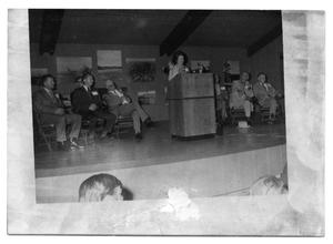Primary view of object titled '[Lady Bird Johnson at a Podium]'.