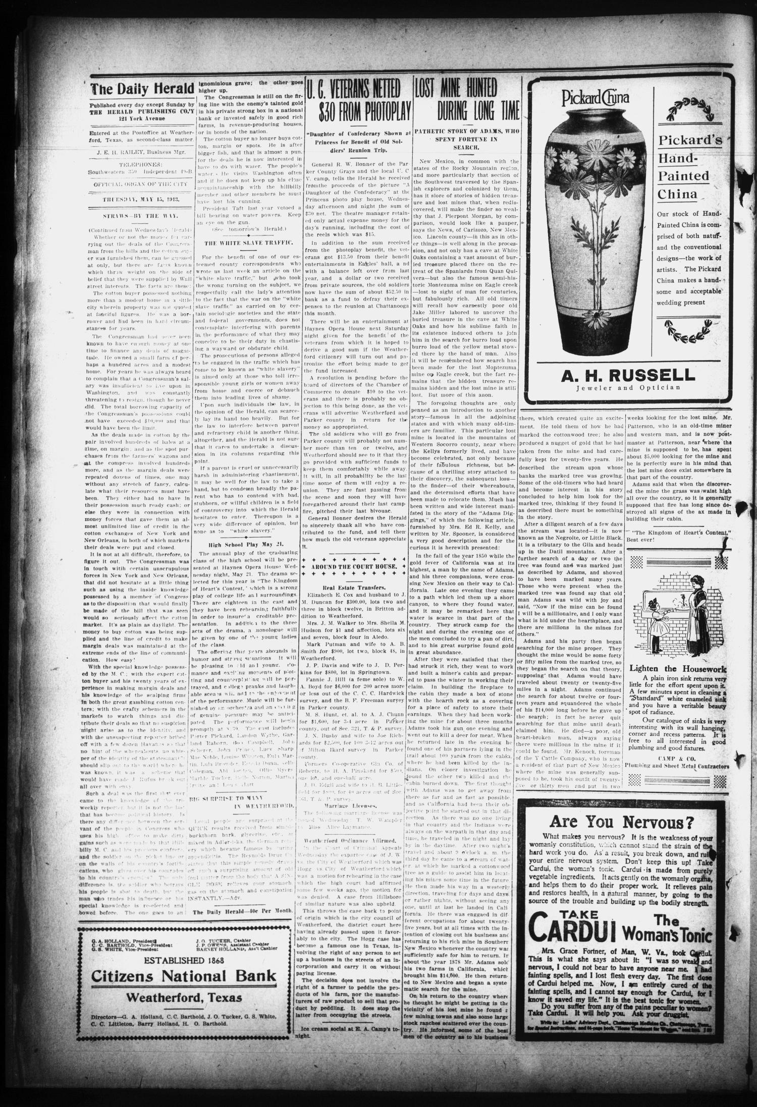 The Daily Herald. (Weatherford, Tex.), Vol. 14, No. 105, Ed. 1 Thursday, May 15, 1913                                                                                                      [Sequence #]: 2 of 4