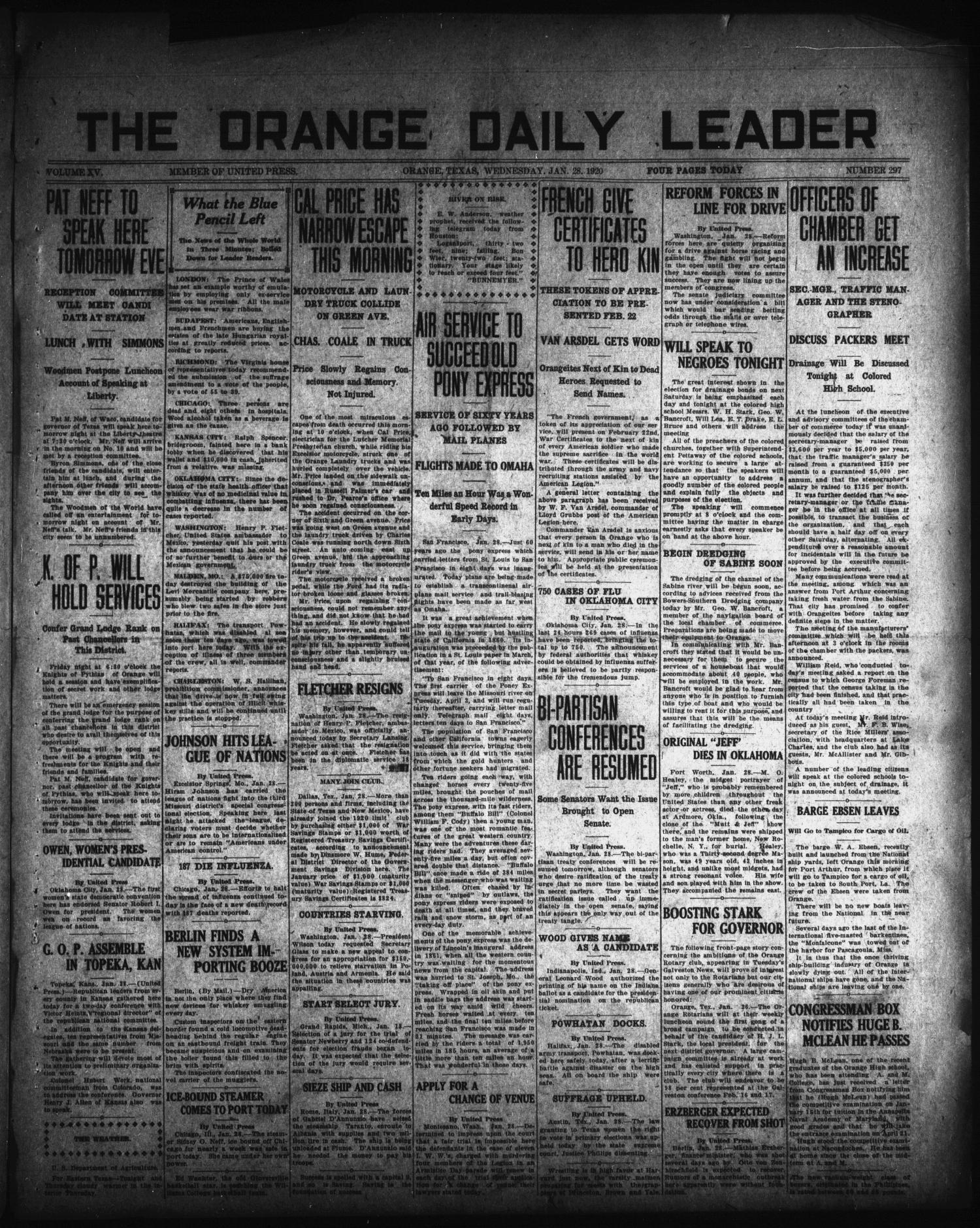 The Orange Daily Leader (Orange, Tex.), Vol. 15, No. 297, Ed. 1 Wednesday, January 28, 1920                                                                                                      [Sequence #]: 1 of 4