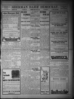 Primary view of object titled 'Sherman Daily Democrat. (Sherman, Tex.), Vol. THIRTIETH YEAR, Ed. 1 Tuesday, June 6, 1911'.