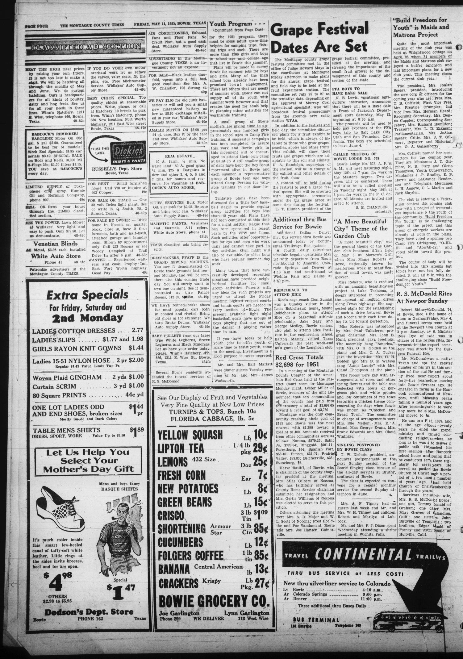 The Montague County Times (Bowie, Tex.), Vol. 43, No. 49, Ed. 1 Friday, May 11, 1951                                                                                                      [Sequence #]: 4 of 10