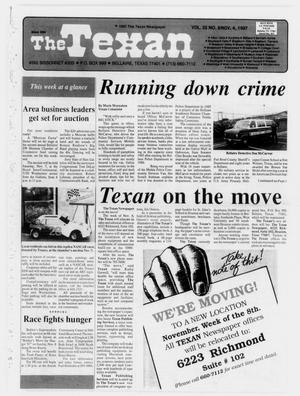 Primary view of object titled 'The Texan (Bellaire, Tex.), Vol. 35, No. 9, Ed. 1 Wednesday, November 4, 1987'.