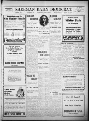 Primary view of object titled 'Sherman Daily Democrat. (Sherman, Tex.), Vol. THIRTIETH YEAR, Ed. 1 Wednesday, February 22, 1911'.