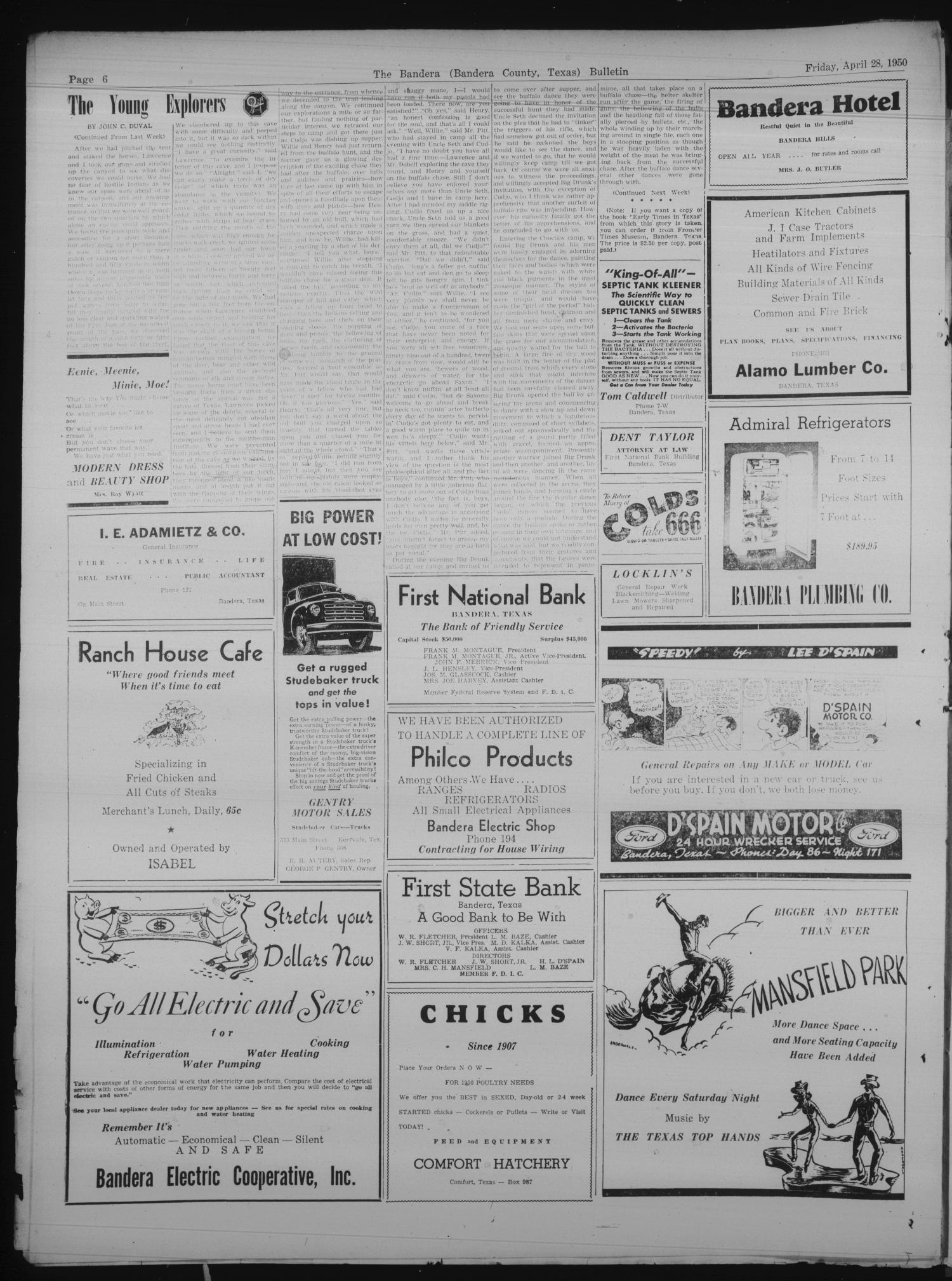The Bandera Bulletin Tex Vol 5 No 44 Ed 1 Friday Building Wiring Books April 28 1950 Page 6 Of 8 Portal To Texas History