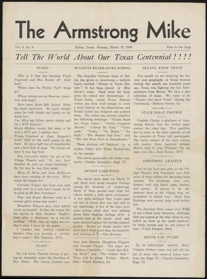 Primary view of object titled 'The Armstrong Mike (Dallas, Tex.), Vol. 5, No. 8, Ed. 1 Monday, March 23, 1936'.
