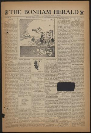 Primary view of object titled 'The Bonham Herald (Bonham, Tex.), Vol. 7, No. 27, Ed. 1 Monday, December 4, 1933'.