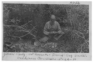 Primary view of object titled 'Yours truly at lunch [at] Sweet Bay Mott, Calhoun County, Texas'.