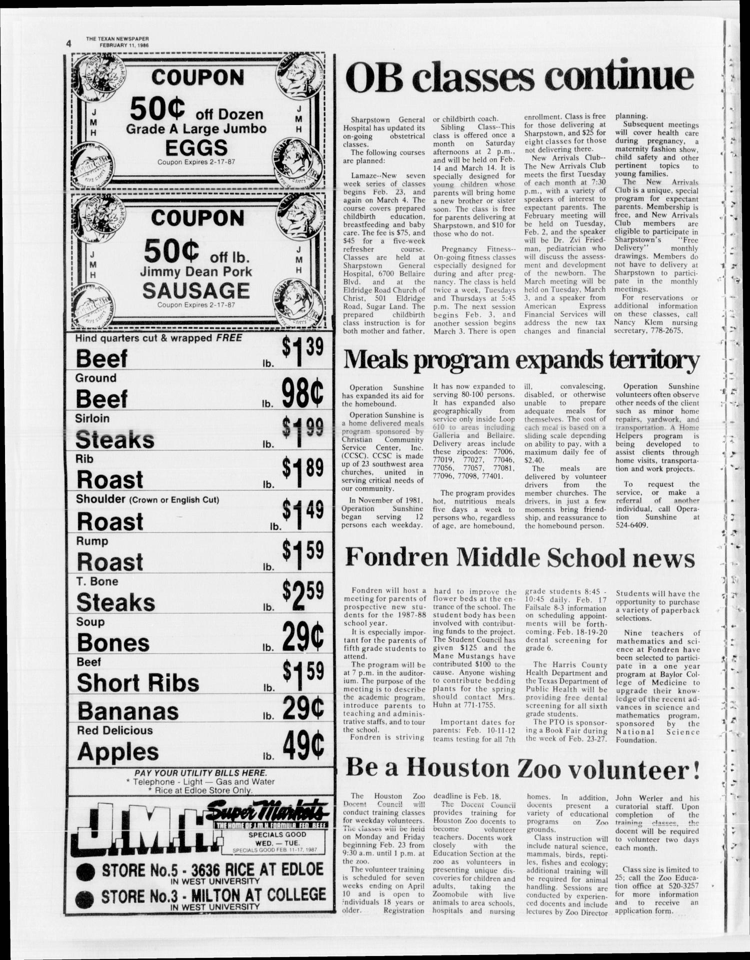 The Texan (Bellaire, Tex.), Vol. 34, No. 23, Ed. 1 Wednesday, February 11, 1987                                                                                                      [Sequence #]: 4 of 16